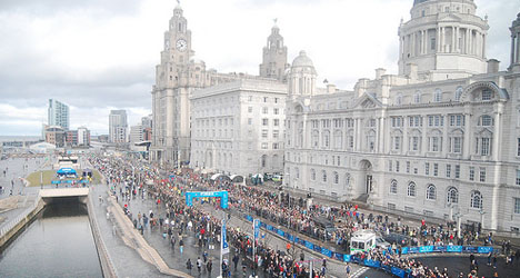 Liverpool half marathon finish outside the Liverbirds