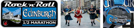 Edinburgh Rock n Roll half marathon logo, medal and runners